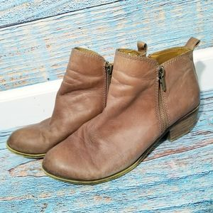 Lucky Brand Basel Zipper Side Brown Booties 8.5M